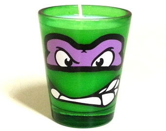 TMNT Donatello Candle - Soy Shot Glass Candle - CHOICE of SCENT