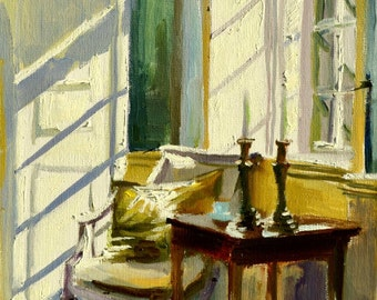 SUNLIT ROOM Art Print of Original Oil Painting, Sunlit Room