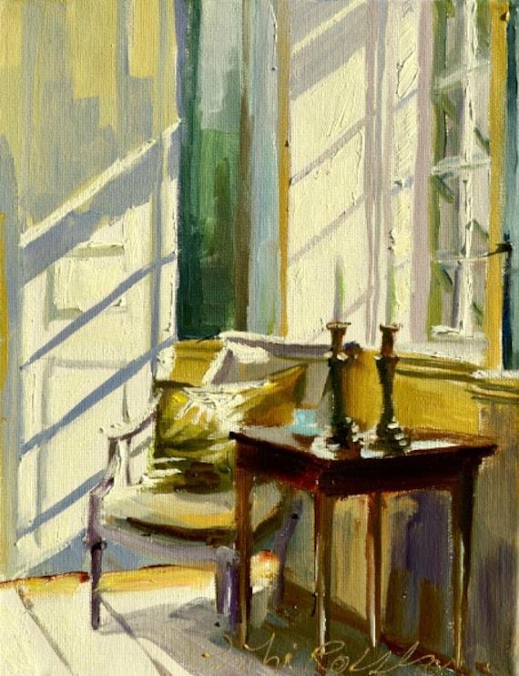 sunlit room art print of original oil painting sunlit room. Black Bedroom Furniture Sets. Home Design Ideas