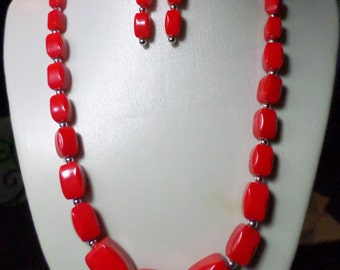 Handmade Necklace, Earrings Set, Vintage Upcycled Beads, Red n Silver Accents OOAK