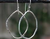 Sterling Silver Oval Hoop Earrings, Hammered Irregular Hoops