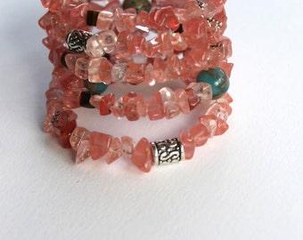 Cherry quartz wrap bracelet, memory wire bracelet, cuff bracelet, jasper, tiger eye, silver plate beads, pink bracelet
