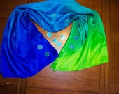 Belly Dance Silk Veil Brilliant Blue, Turquoise, Lime Green  IN STOCK