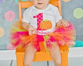 Little Pumpkin Birthday Tutu Outfit-Hot Pink Orange Lime Pumpkin Tutu Outfit-Pumpkin Party Tutu Set-Pumpkin Patch Outfit *Bow NOT Included*