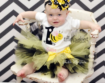 It's My BEE-day Bumble Bee Themed BIrthday Tutu Outfit-Bee Birthday Tutu Set-Bee Party Tutu Outfit-Birthday Bee Outfit *Bow NOT Included*