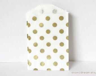 25 Mini Paper Bags - Gold Polka Dots