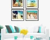 Beach Photography Set, Retro Beach Surfer Wall Art, Beach Home Decor Surfboard Photography, VW Bus, Palm Trees, Surfing Art