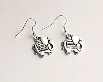 Exotic Elephant Charm Earrings Vintage Style Silver - Choose Sterling Silver or Silver Plated Hooks