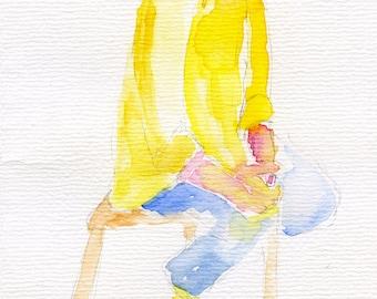 Original watercolour painting - Sitting girl wearing yellow