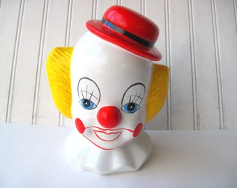 Large clown head slotted coin bank slotted pop art 1980s vintage