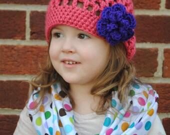Spring Flower Hat- flower beanie- crochet flower hat- girls flower hat- flower cloche