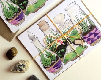 Pack of Three: Terrariums Greeting Cards blank A2