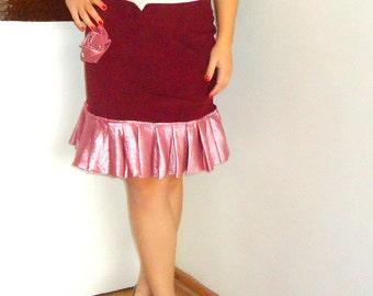 Wine Red skirt, Winter velvet skirts for Women Womens skirt above the knee, upcycled  skirt ,High Waisted Ruffle Skirt  europe  38  U.S. 8
