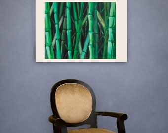 13x19 Bamboo   Japanese Painting Asian Print Nature Art Modern Bamboo Abstract