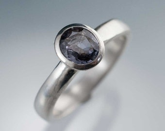 Gray Purple Spinel Ring, Bezel Set Solitaire Engagement Ring in Sterling Silver, Spinel Engagement Ring, Ready to Ship Size 5 to 8