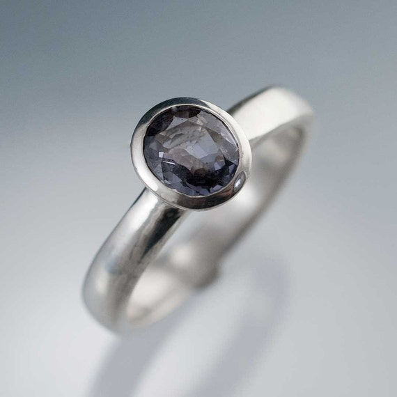 Gray Purple Spinel Ring Bezel Set Solitaire Engagement Ring