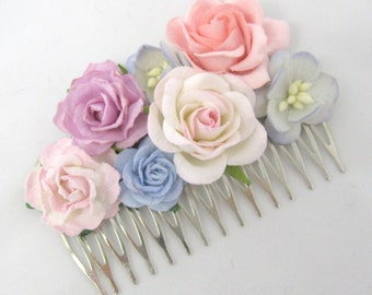 Pastel Floral Haircomb Flower Fascinator Vintage Wedding Party Bridal Accessory Bridesmaid statement