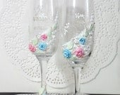 Personalized Hand Decorated Wedding Anniversary Champagne Glasses Toasting Flutes ( Pink Blue ) Beads and Roses by Elena Joliefleur