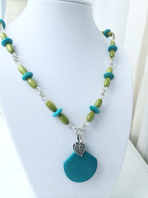 Tagua Nut Jewelry, Sterling Silver Necklace,  Turquoise Jewelry, Large Silver Leaf Pendant