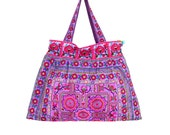 Large Size Shoulder Bag Beach Bag Flat Strap Hmong Embroidered Fabric (BG141F-PUC)