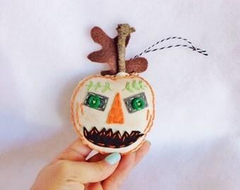 Folk Art Hand embroidered Jack O Lantern Halloween Fall Ornament