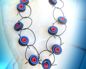 Loop necklace rubber/Bib necklace rubber/blue red statement/rubber necklace avant garde