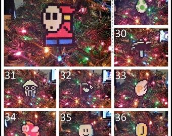 Single Nintendo Super Mario Bros Perler Bead Christmas Ornaments - star mushroom leaf hammer shy guy bullet bill card game potion 1up frog