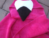 Pink Flamingo Hooded Bath Towel for Bath, Pool, Beach