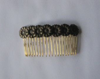 Bronze Metal Flower Gold Comb, for weddings, parties, special occasions