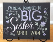 "Pregnancy announcement, 11"" x 14"" art board, custom drawing by hand, big sister or brother"