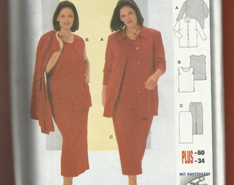 Burda 8977 Classic Shirt-Jacket Tank Top & Pencil Skirt Sizes 24 to 34 UNCUT