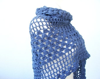 MADE TO ORDER - Crocheted shawl, jeans blue triangular shawl , navy blue openwork light crocheted wrap