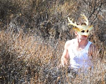 SALE: Golden Stag, Deer Mask in Leather by Hawk & Deer