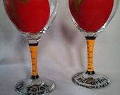Teacher Glass, Red Apple wine glass, hand painted, teacher appreciation, tired teacher