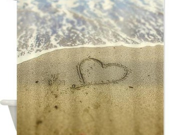 Shower Curtain, Heart In The Sand, Love, Coastal Art Ocean Ocean Sandy Beach
