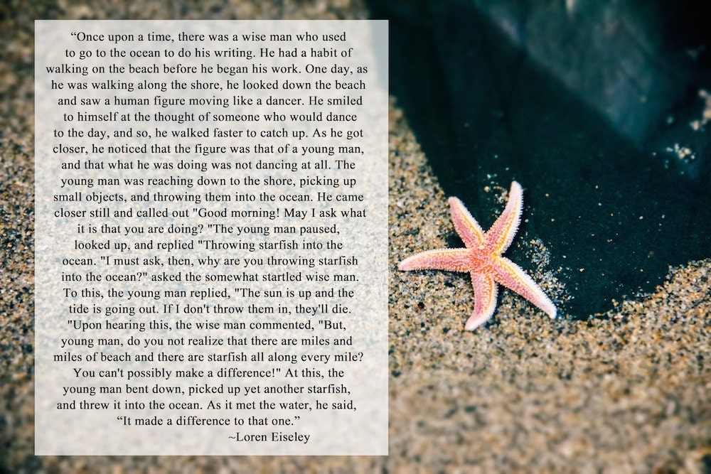 Starfish Story Ocean Art Sandy Beach Quote by ...