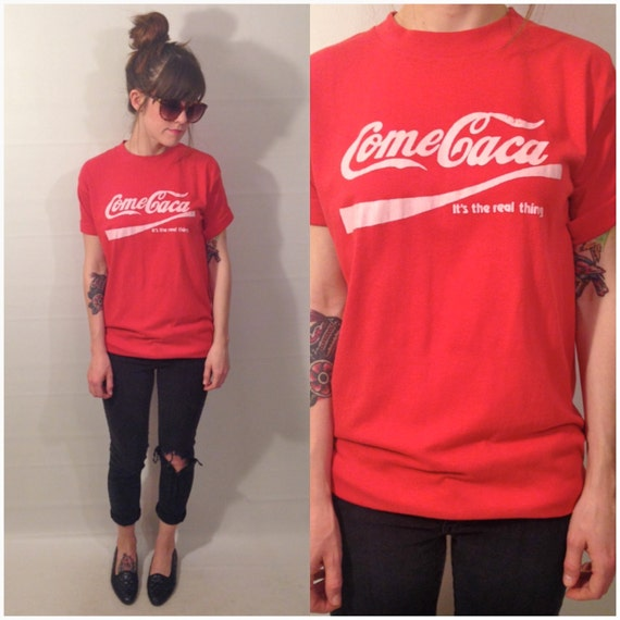 Vintage 90s Red Eat Shit Come Caca Coca Cola T Shirt Spanish