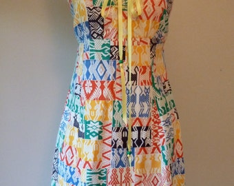 70's Ikat Animal Dress Novelty Print Festival Patchwork Corset Bust Sundress L