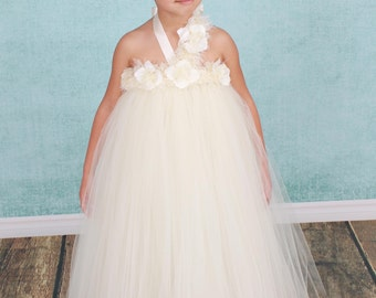 READY TO SHIP:  Flower Girl Tutu Dress - Ivory - Pearl Pizzazz - 5/6 Youth Girl - Cutie Patootie Designz