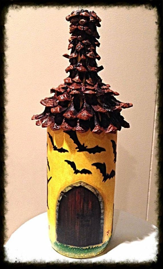 items similar to decoupaged bottle halloween decoration