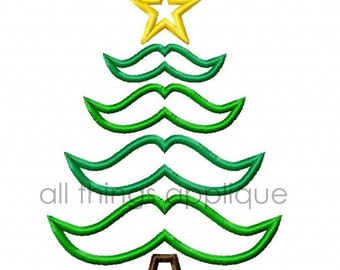 Mustache Christmas Tree Applique Design - Satin and Bean Stitch - 3 Sizes - INSTANT DOWNLOAD