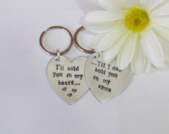 LOVE QUOTE HEART Keychains -Silver tone -- Boyfriend/ Girlfriend -- Engagement -- Long Distance Relationships -- Just Because