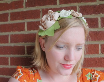 Woodland romantic ivory and champagne flower crown headband. Metal wrapped headband. fits women and children. fascinator