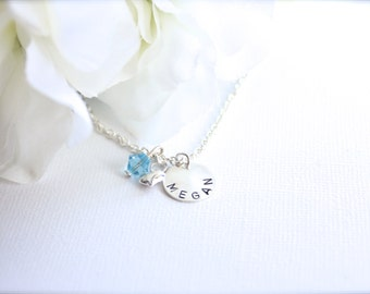 Girls Personalized Gift Sterling Silver Heart & Hand Stamped Name Charm Necklace Birthstone Crystal, Silver Puff Heart-- FREE Gift Packaging