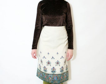 Vintage 70s Ivory Boho Floral Midi Pencil Skirt
