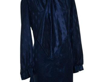 Lanvin Vintage Secretary Shirt Blouse Dress Size Medium Navy