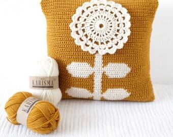 Scandinavian Pillow, Crochet Pattern, Pillow Patterns, Mustard Cushion, Bedroom Decor, Crochet Photo Prop, Yellow Room, Kids Room, Nursery
