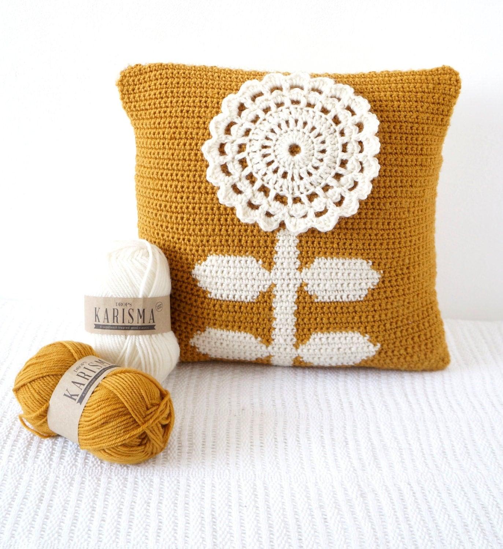 Scandinavian Pillow, Crochet Pattern, Pillow Patterns, Mustard Cushion, Bedroom Decor, Crochet