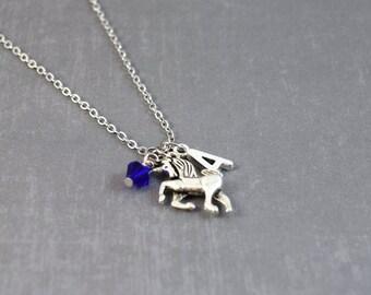 Unicorn Necklace, Fantasy Jewelry, Personalized Birthstone Jewelry, Horse Necklace, Initial Jewelry, Unicorn Pendant, Fantasy Necklace