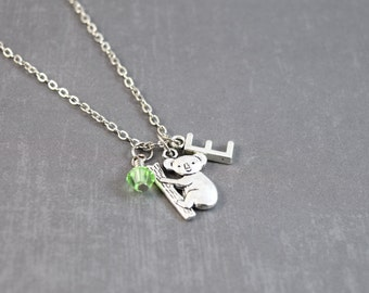 Koala Necklace, Peridot Necklace, Personalized Birthstone Necklace, August Birthday Gift,Personalized Initial Jewelry, Koala Jewelry